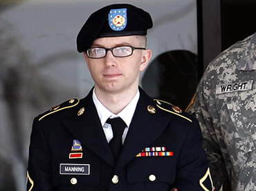 Army Pfc. Manning leaves the courthouse after his motion hearing at Fort Meade