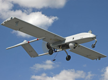 "An unarmed U.S. ""Shadow"" drone is pictured in flight in in undated photograph"