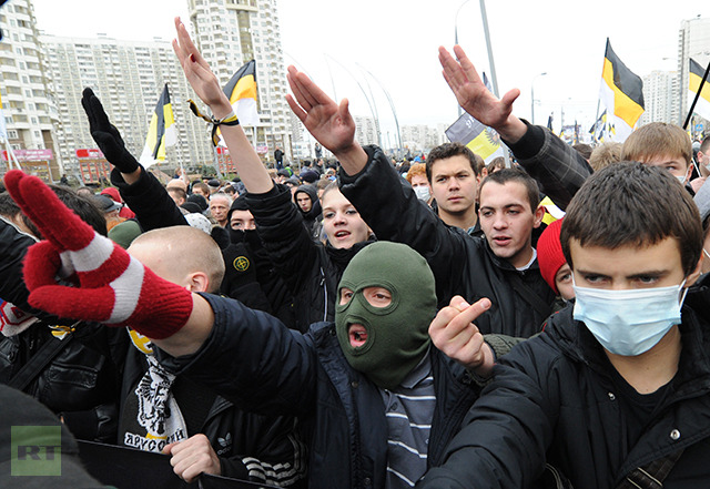 Participants in the Russian March rally held to mark up the National Unity Day in Moscow. (RIA Novosti / Iliya Pitalev)