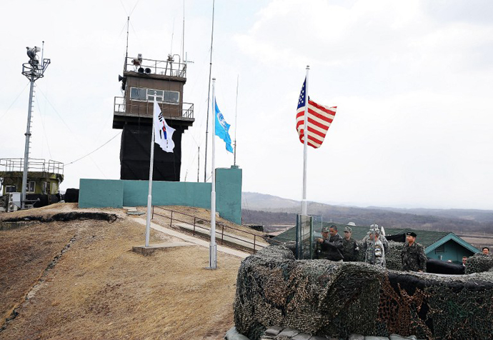 Observation Post Ouellette near Panmunjom on the border between North and South Korea. (AFP Photo / Jewel Samad)