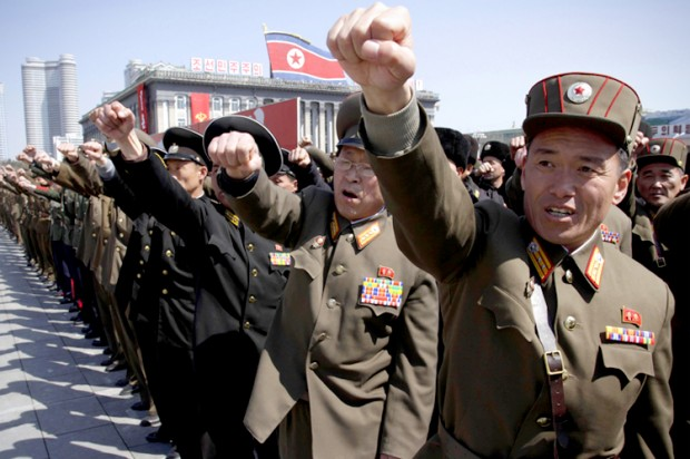 North Korean army officers at a rally at Kim Il Sung Square in Pyongyang, North Korea, March 29, 2013. (AP Photo/Jon Chol Jin) (Credit: Jon Chol Jin)