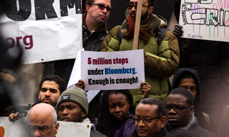 Demonstrators protest the NYPD's stop-and-frisk police outside of Manhattan federal court last month. Photograph: Lucas Jackson/Reuters