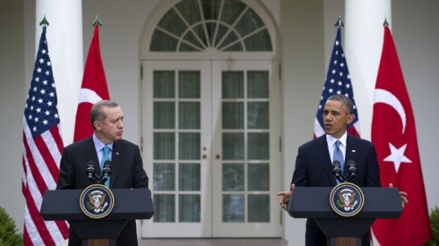 US President Barack Obama and Turkish Prime Minister Recep Erdogan hold a joint press conference in the Rose Garden of the White House in Washington, DC, May 16, 2013. (AFP Photo / Saul Loeb)