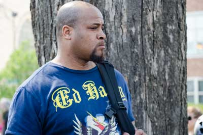 """May 1, 2013: """"Danny Edwards,"""" undercover Chicago police officer, at a May Day rally for immigrant rights in Chicago's Union Park."""