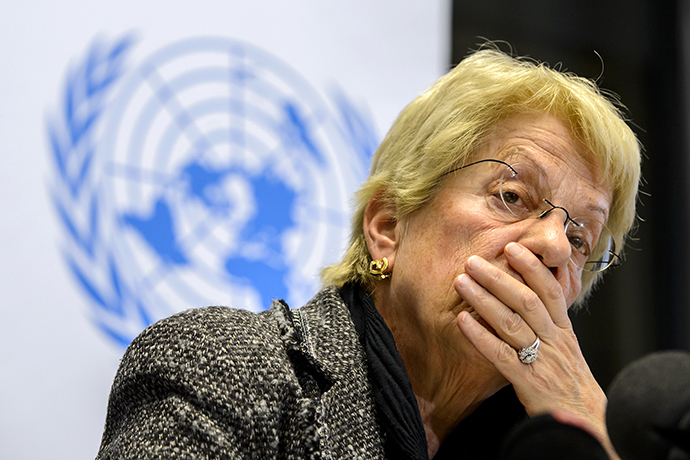 Former United Nations (UN) Swiss prosecutor and member of a UN-mandated commission of inquiry on the Syria conflict, Carla del Ponte. (AFP Photo / Fabrice Coffrini)