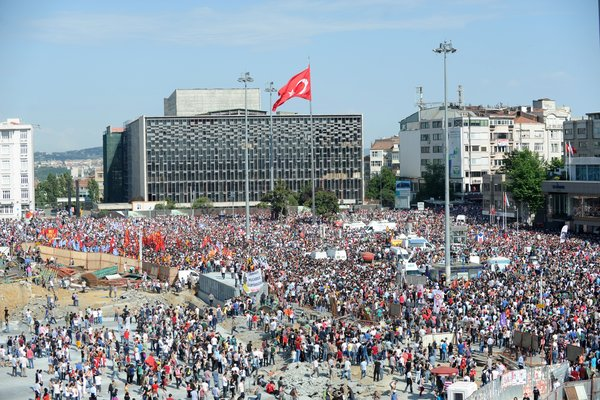 Taksim Square. The spark for the protests was a government plan to turn a park into a replica Ottoman-era army barracks and mall.