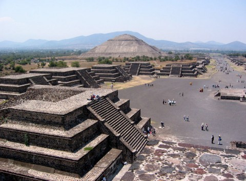 The Pyramid of The Sun and Avenue of The Dead, viewed from the top of Pyramid of The Moon, are the symbol of Teotihuacán in Mexico.