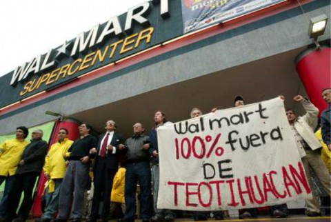 A protest against the Walmart development