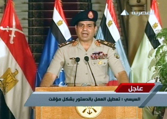 An image grab taken from Egyptian state TV shows Egyptian Defence Minister Abdelfatah al-Sissi delivering a statement on July 3, 2013 announcing the ousting of Islamist President Mohamed Morsi (AFP Photo / Egyptian TV)