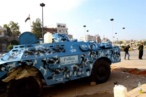 Syrian police armored vehicle in Homs. /AFP/Anwar Amro