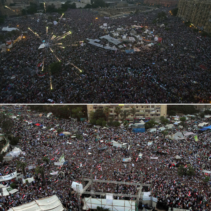 This combo image shows: Egyptian protesters calling for the ouster of President Mohamed Morsi (Top) and Egyptian supporters of President Mohamed Morsi (Bottom) (AFP Photo)