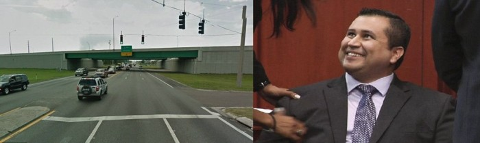 Accident scene on left, Zimmerman photo on right