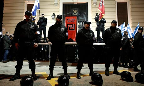 Members of the Golden Dawn party guard a stage during a rally in Athens earlier this year. Photograph: Yorgos Karahalis/Reuters/Corbis