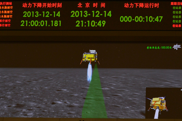 A photograph taken on a giant screen at the Beijing Aerospace Control Center in Beijing shows an animated image of the Chang'e-3 lunar probe descending onto the surface of the moon, December 14, 2013. (Reuters / Stringer)