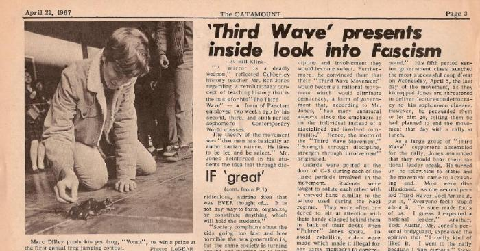 The Third Wave experiment was not extensively documented at the time. Here is one of two articles in the Cubberley High School student newspaper that mention it.