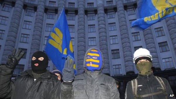 Fascist Svoboda activists occupied Kiev city hall in December. Now the party is in government Pic credit: AP