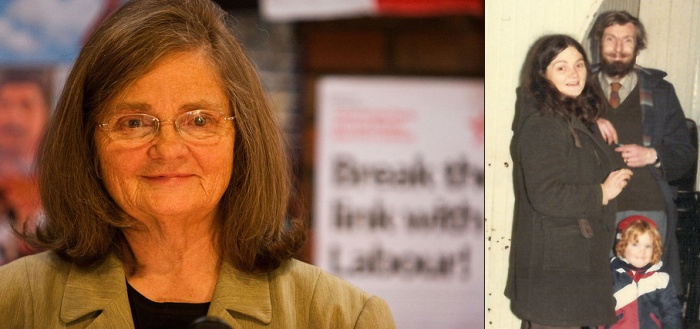 Iris at the memorial meeting for Godfrey in 2012, and in Shackleton Hall, Birmingham with Godfrey and Katt in 1984.