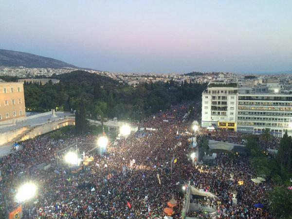 Anti-austerity demonstration before the Greek Parliament, July 3, 2015