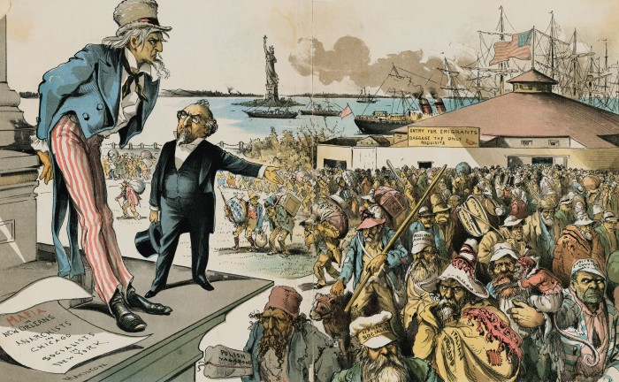 Cartoon Showing Uncle Sam Staggered by Immigrants